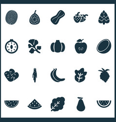 Fruit icons set with melon figs horseradish and vector
