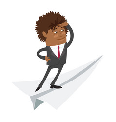 funny black business man standing on flying paper vector image