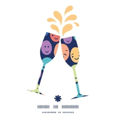 Funny faces toasting wine glasses silhouettes vector