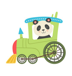 Funny panda with bucket ears riding on train vector