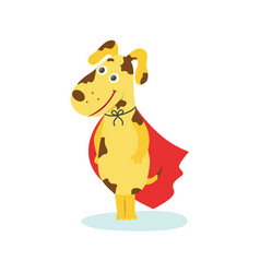 Funny puppy dog character in red superhero cape vector