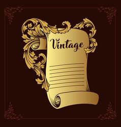 gold menu paper ornate vector image