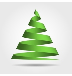 Green ribbon in a shape of Christmas tree vector image