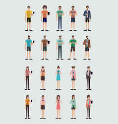 group of people using smartphone vector image