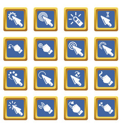 hand click icons set blue square vector image