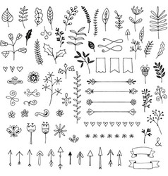 Handdrawn design elements leaves arrows label vector