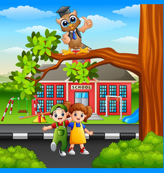 Happy children with owl on street tree branch vector