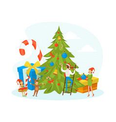 Happy family celebrating winter holidays tiny vector
