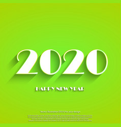 happy new year 2020 white text on light green vector image