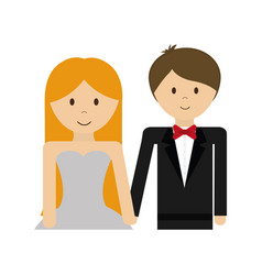 happy wedding couple icon vector image