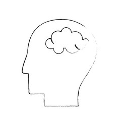 Head human brain thinking sketch vector