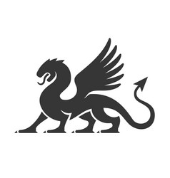 Heraldic dragon silhouette logo vector