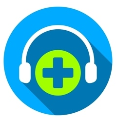 Hospital Call Service Flat Round Icon with Long vector image