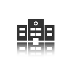 Isolated hospital black icon with reflection vector