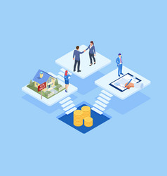 isometric signed real estate purchase or lease vector image