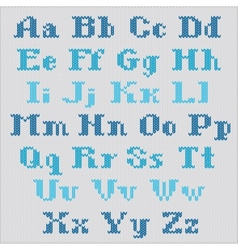 Knitted alphabet blue bold serif letters vector