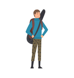 male tourist standing with backpack and guitar vector image