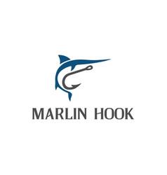 marlin and hook symbol logo design vector image