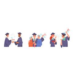 Master students graduation ceremony dean parents vector