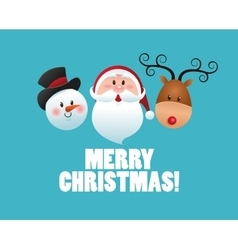 Merry Christmas concept with snowman icon vector