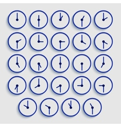 Modern flat time icons set vector