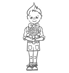 monochrome picture of a little boy who wants to vector image