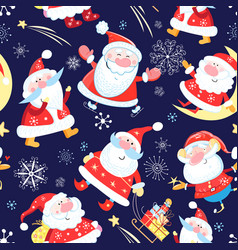 New years bright color pattern funny santa vector