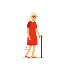 Old female character bad knee pain colourful vector