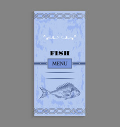 Ornate fish menu concept for seafood restaurant vector