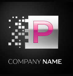 pink letter p logo symbol in the silver square vector image