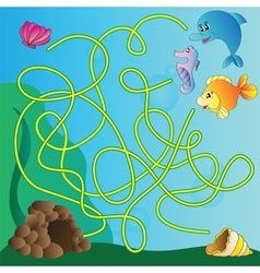 Puzzle for kids - marine life vector image