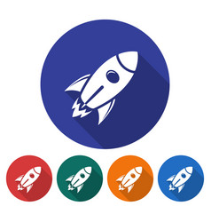 Round icon of space rocket flat style with long vector