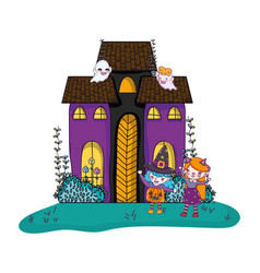 Scary castle with ghosts and girls costumes vector