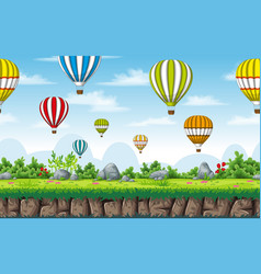 Seamless nature background with hot air balloons vector