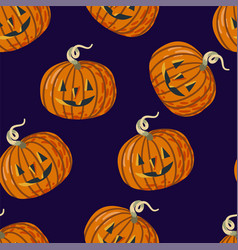 seamless pattern with halloween pumpkins on purple vector image