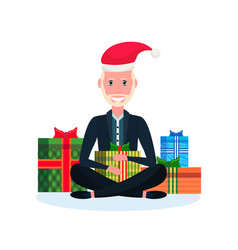 senior man sitting lotus pose gift box decoration vector image