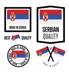 serbia quality label set for goods vector image