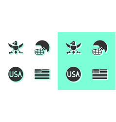 Set american flag eagle usa label and football vector