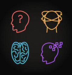 Set neurological problems concept neon icons vector