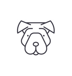 shar pei line icon sign on vector image