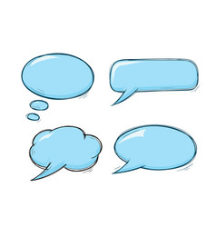 speech bubbles blue doodles set vector image