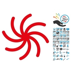 Spiral icon with 2017 year bonus pictograms vector