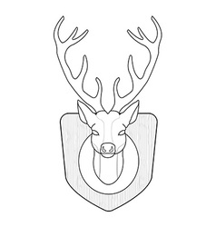 Stuffed taxidermy deer head Line-art vector image