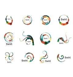 Swirl circle logo set vector
