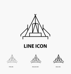 Tent camping camp campsite outdoor icon in thin vector