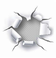 Torn hole in sheet paper vector
