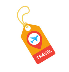 Travel tag with plane template isolated on white vector
