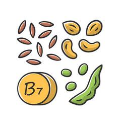Vitamin b7 yellow color icon almonds and peanuts vector