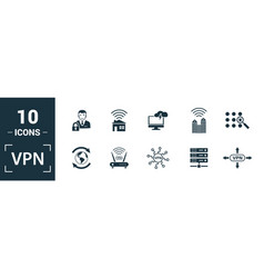 Vpn icon set include creative elements archiving vector