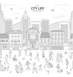 Walking urban crowd on street and building in city vector
